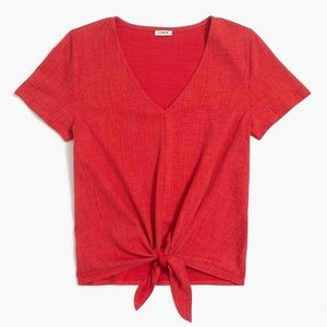 J. Crew red thread texture tie-front shirt